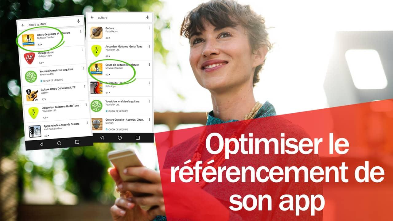 Une femme en train d'utiliser son smartphone et elle optimise le référencement de son application.