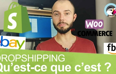 Une photo de shopify et woocommmerce qui permettent de faire facilement du dropshipping.