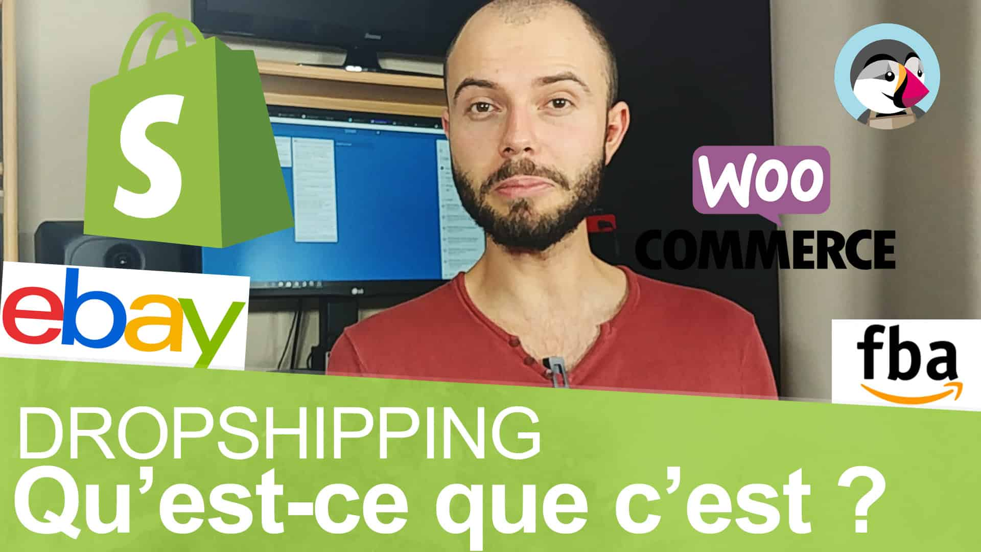 Une photo de shopify et woocommmerce qui permettent de faire facilement du dropshipping.