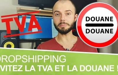 Un logo de la douane et de la tva avec un formateur qui parle du dropshipping.