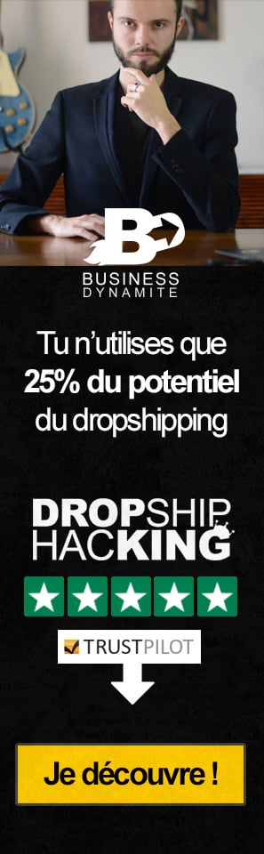 La meilleure formation de marketing et de dropshipping pour apprendre et commencer le dropshipping est présentée sur cette affiche. Elle est notée 5 étoiles.