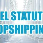"""Une statue de justice avec une grande phrase """" quel statut juridique pour se lancer en dropshipping ? """"."""