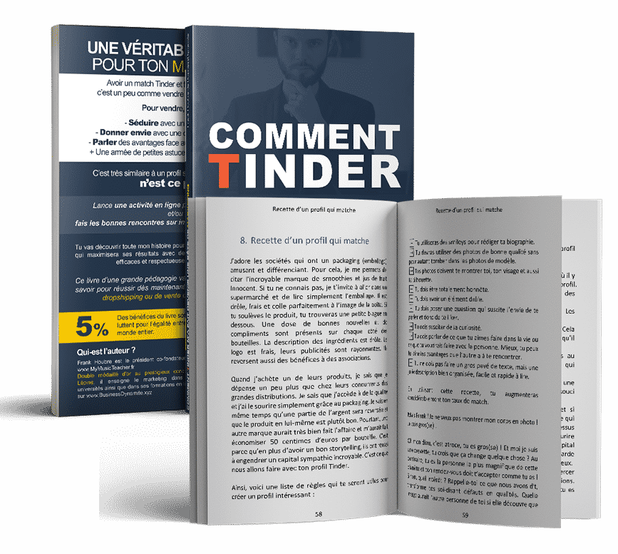 Le livre sur le marketing de Tinder et comment faire plus de rencontre avec une bonne description de profil est ouvert avec du papier blanc et une écriture noire.