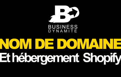 C'est un nom de domaine qui est mis en évidence dans une boutique en ligne sur Shopify.