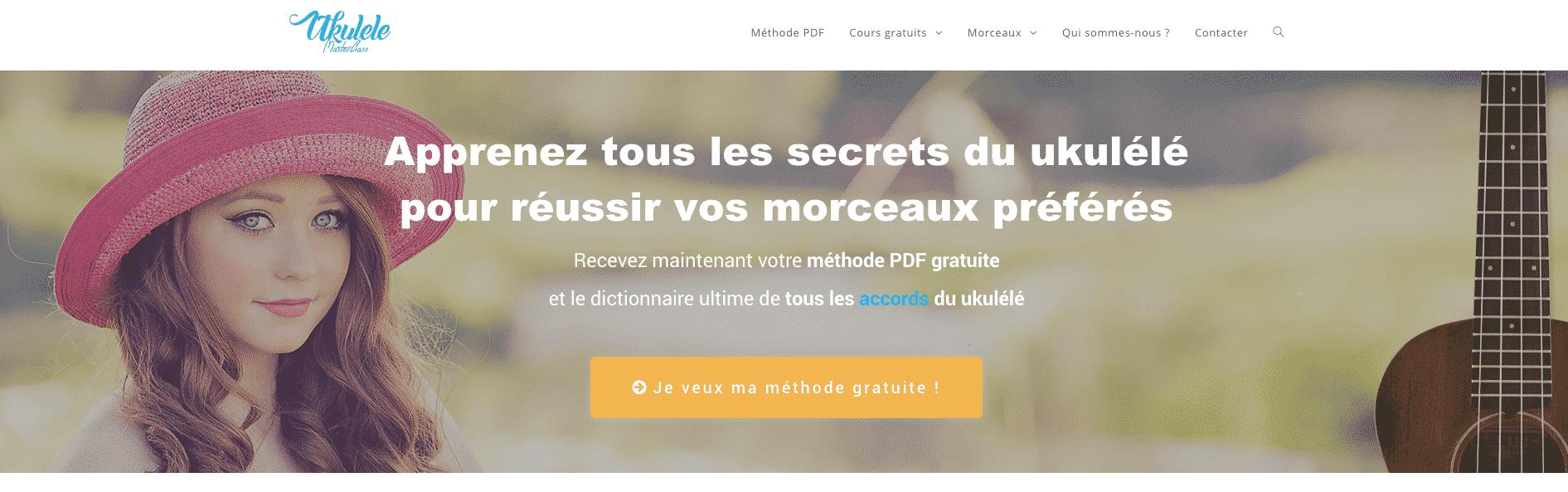 Voici la page d'accueil d'un site web spécialisé pour apprendre à jouer du ukulelé