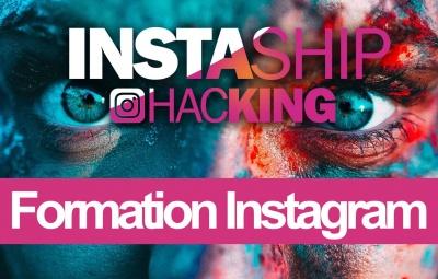 On retrouve le logo de la formation instashiphacking qui est une formation instagram sur un fond rose et bleu. C'est une formation pour apprendre à utiliser instagram avec des trucs et astuces.