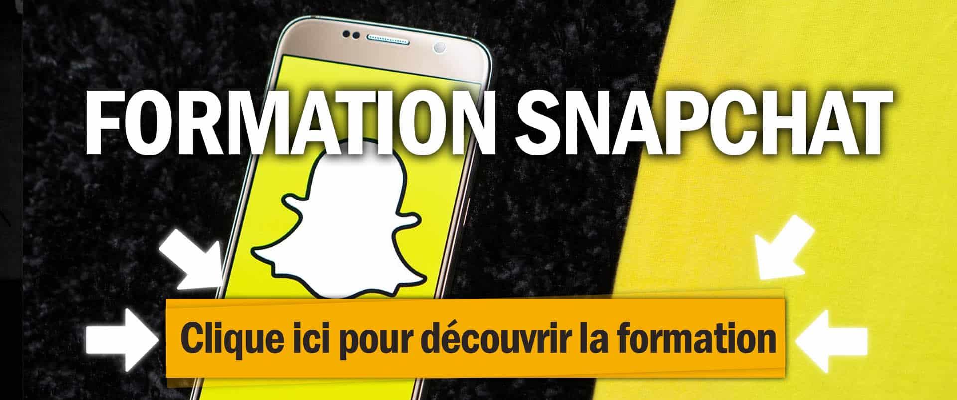 Formation snapchat ads pour faire de la publicité et vendre des produits en dropshipping et ecommerce, sur un fond jaune avec le logo de snapchat.