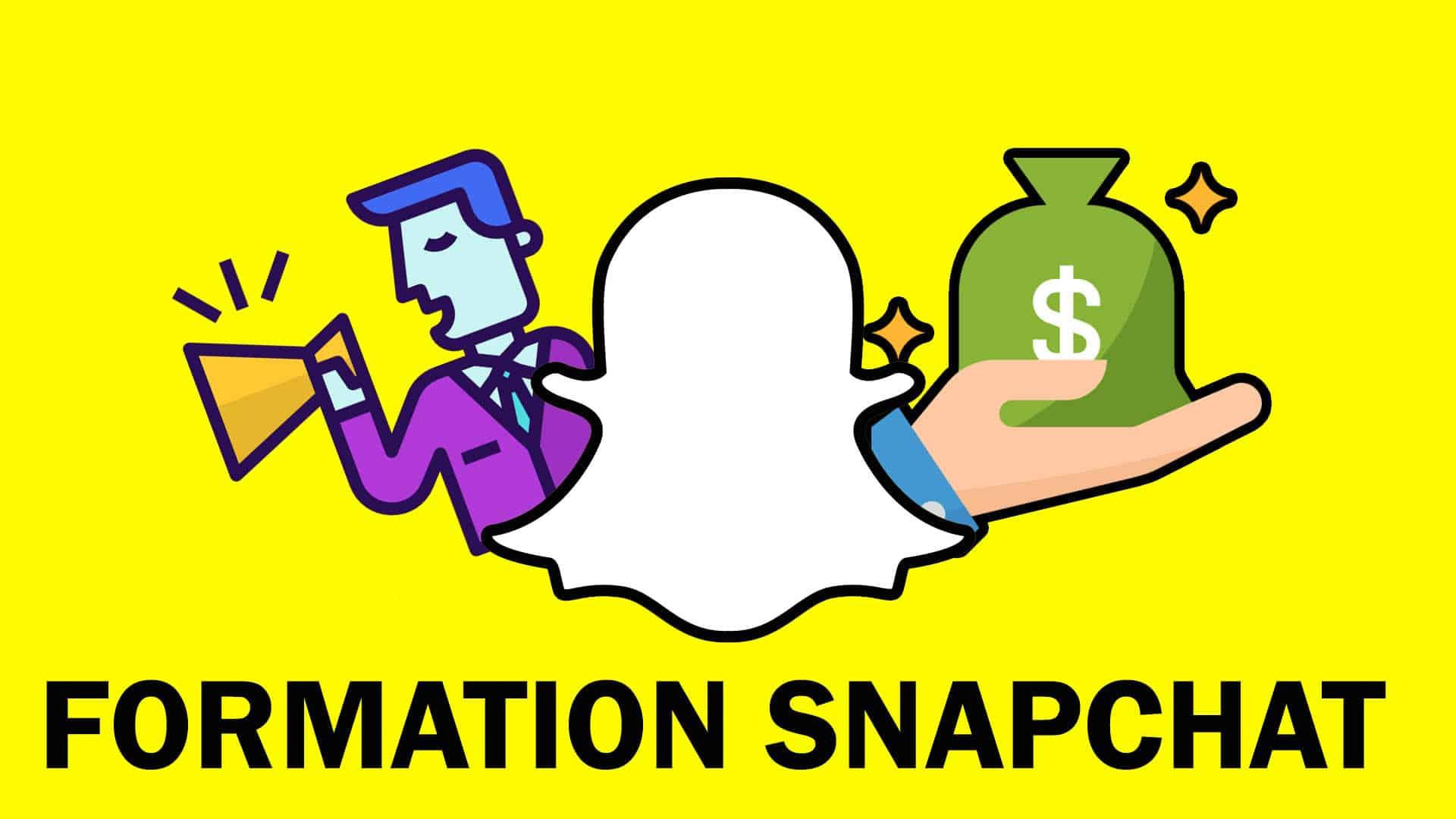 On retrouve le fond jaune de snapchat avec le logo, on voit une image d'une formation snapchat en ligne presque gratuite qui permet d'apprendre à utiliser snapchat ads.