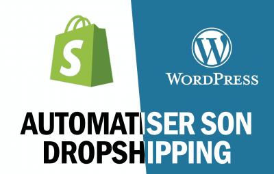 Cette image montre comment automatiser son dropshipping sur wordpress avec woocommerce alidropship et bien entendu sur shopify avec son logo avec dropified et oberlo.