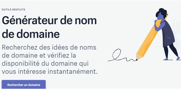 Shopify permet de générer un nom de domaine.