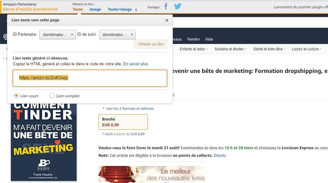 Barre permettant de récupérer le lien d'affiliation chez amazon sur un produit vendu par amazon.