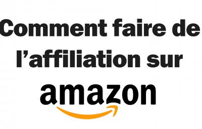 Cette image avec un fond blanc montre comment faire de l'affiliation avec amazon. Le logo d'amazon affiliate partenaire est présent.