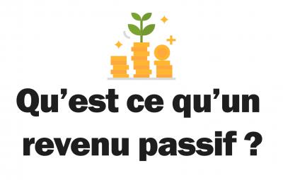 Un fond blanc avec une image montrant un revenu passif qui est généré avec la phrase demandant