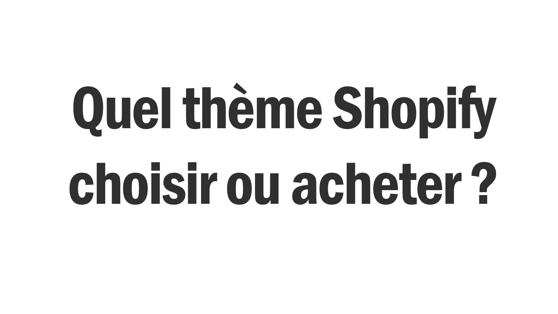 Quel thème shopify choisir ?