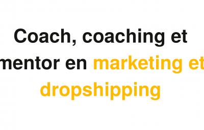 Une image avec fond blanc et un texte noir et doré qui parle des coachs en dorpshipping pour suivre des cours particuliers d'un mentor via skype.