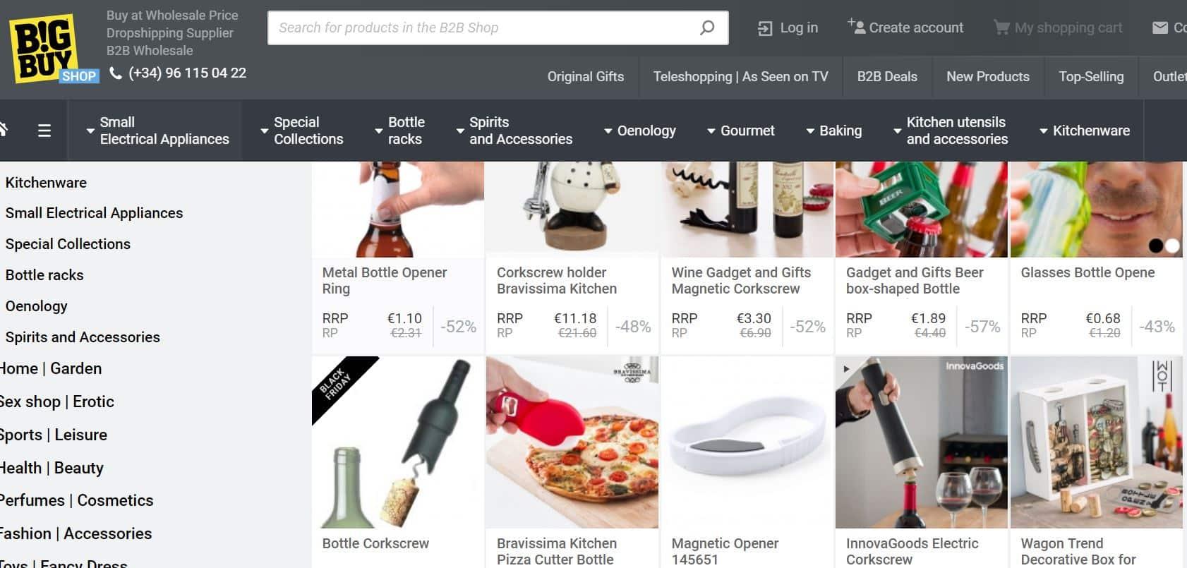 Le catalogue cuisine et sport de Bigbuy avec les prix des produits.