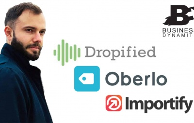 Une photo des logos de dropified, oberlo et importify pour comparer qui est le meilleur avec un fond gris.