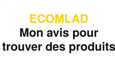 Une image avec un fond blanc et le logo d'ecomlad qui permet de trouver des produits sur internet avec mon avis et une promotion.