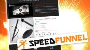 Un exemple d'une landing page crée non pas avec clickfunnel mais speedfunnel avec une explosition du taux de conversion et le logo de speedfunnel.