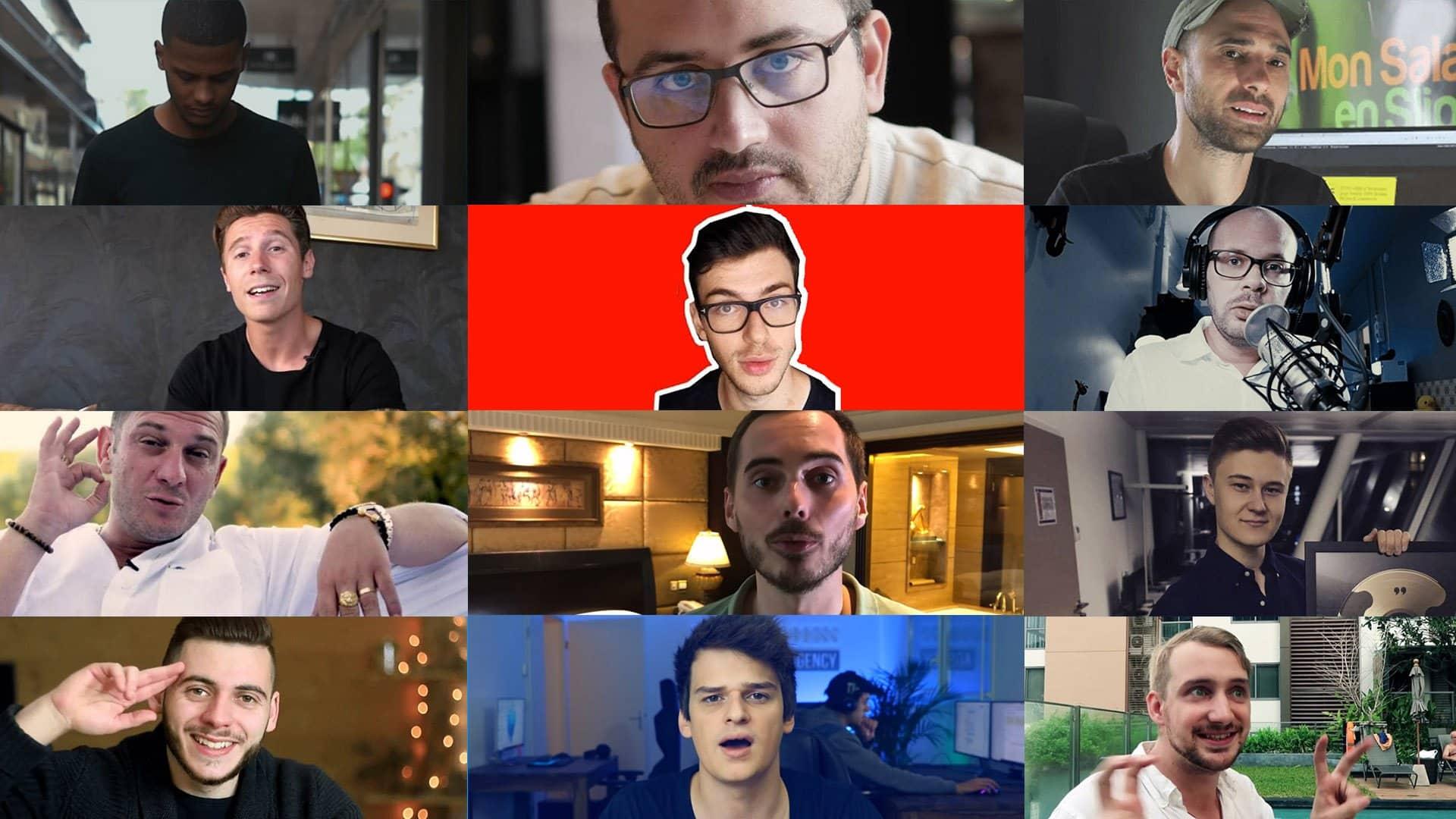 C'est une photo d'un annuaire des différents formateurs en ligne sur Youtube pour gagner sa vie sur internet.