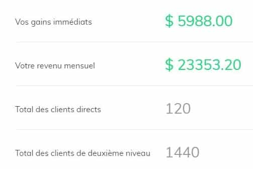 Exemple des gains sur builderall avec l'affiliation