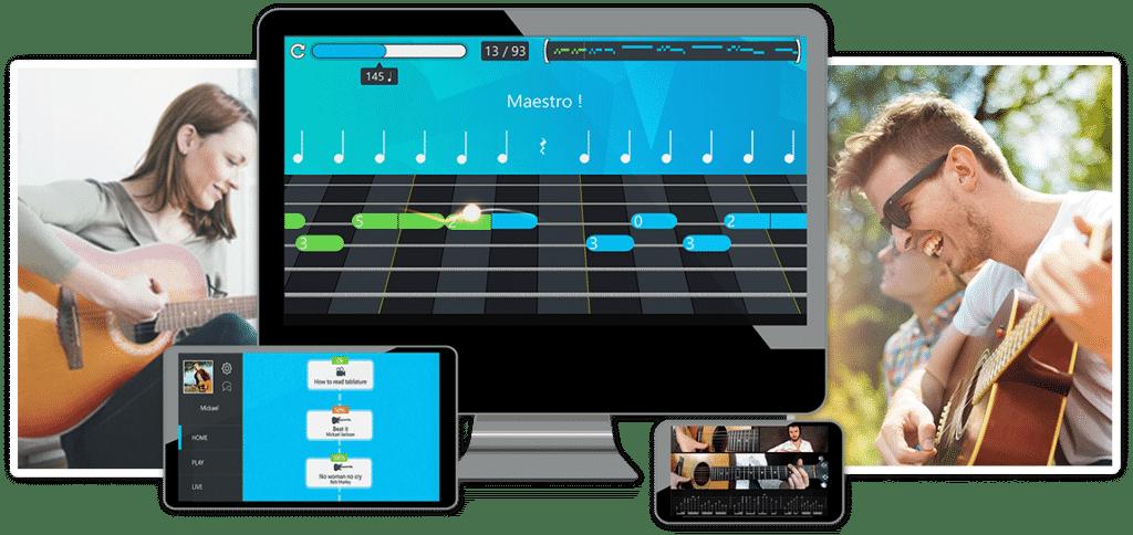 Ce sont les cours de guitare sur mymusicteacher avec une application interactive