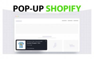 Exemple d'une application de pop up sur shopify pour ofrir des codes discount cadeau, récupérer des mails ou montrer les dernières ventes.