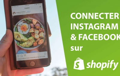Une photo montrant comment connecter instagram et facebook à la boutique shopify.