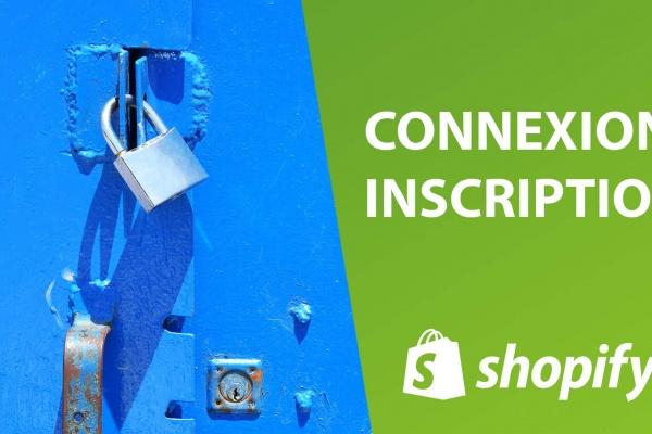 L'interface de connexion et d'inscription sur Shopify avec le logo et un cadenas avec 14 jours gratuits.