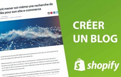 Un article de blog sur shopify avec un fond vert qui montre comment créer un article de blog sur shopify pour améliorer son référencement naturel (seo)