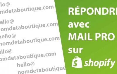 Une image montrant shopify et son interface pour obtenir un mail professionnel pour répondre aux clients.