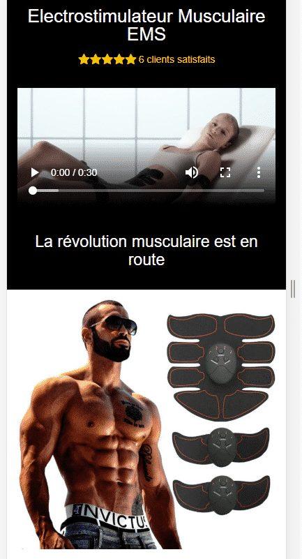 Un exemple de produit en mono produit sur une boutique liée au sport (les fameux abdominaux)