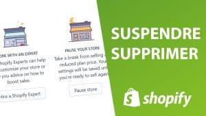 Mettre en pause sa boutique shopify est facile grâce à cette illustration avec fond blanc et vert et des pictogrammes qui montrent des boutiques shopify de dropshipping en ligne.