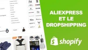 Nous voyons une boutique aliexpress en ligne qui permet de faire de la vente en dropshipping avec le logo de shopify sur un fond vert.