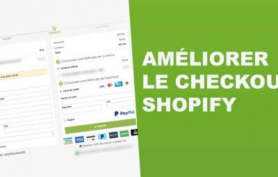 Le formulaire de paiement appelé checkout de shopify est montré et il est amélioré avec dropicheckout.
