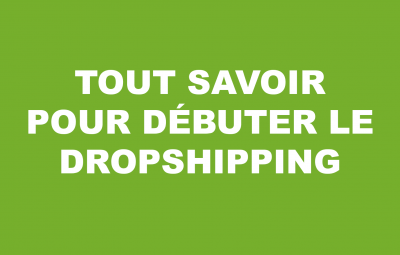 Un cours sur fond vert où on montre comment débuter le dropshipping