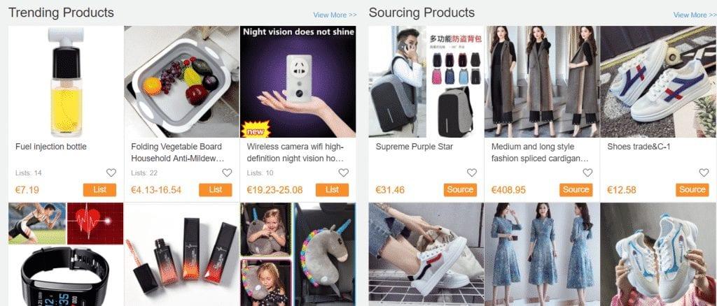 CJ dropshipping avec son interface de login et une liste de produits aliexpress sur shopify.