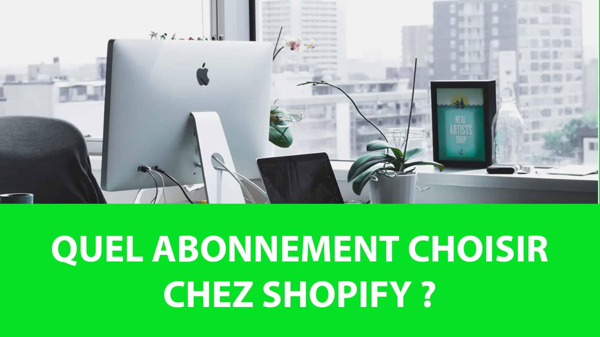 Les différents abonnements sur shopify sont montrés pour avoir un guide du prix.