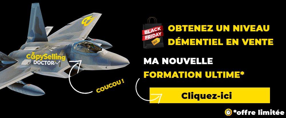 publicité d'une formation spéciale pour black friday 2