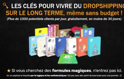 Formation sur Shopify en Français avec un pack de vidéo sur fond noir.