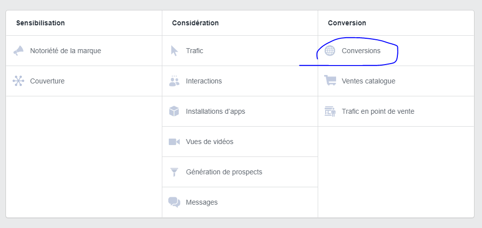 L'objectif conversions en mode achat sur la publicité facebook.