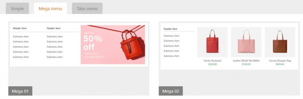 Exemple de menu responsive sur shopify.