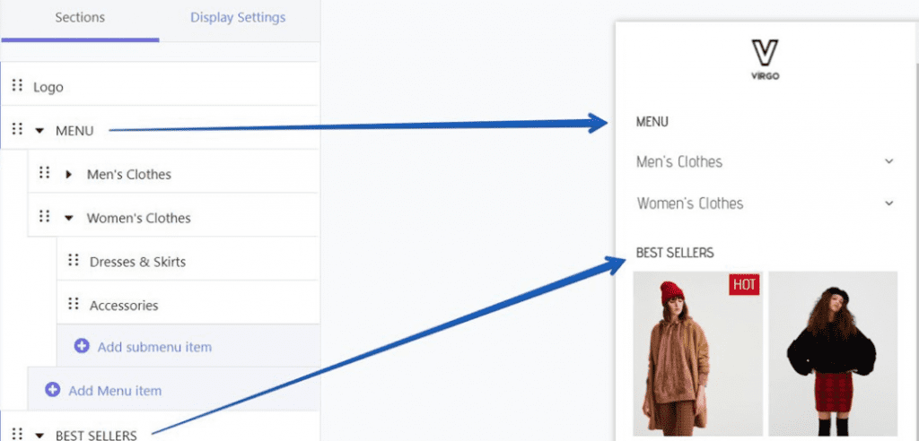 Un menu responsive gratuit avec cette application shopify.
