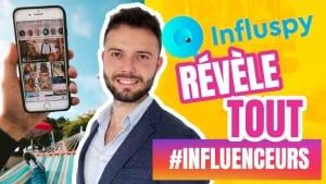 Influspy ou Influ spy, un dropshipper donne son avis sur l'outil pour trouver des influenceurs instagram sur fond jaune.